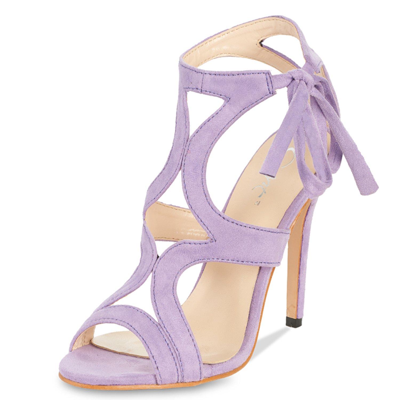 JSUN7 Women's Lace-up Stiletto High Heel Sandals Basic Office Summer Dress Shoes Open Toe Party Pumps Purple 7