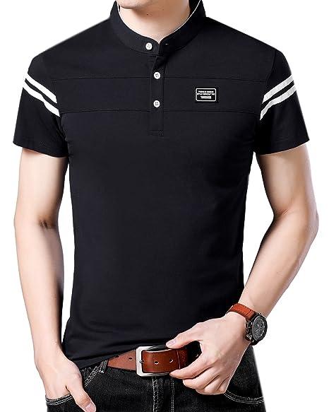 YingQi Mens Casual Slim Fit Golf Polo Shirt Short-Sleeve Black Polo Golf Shirts  Tops 38451f39b