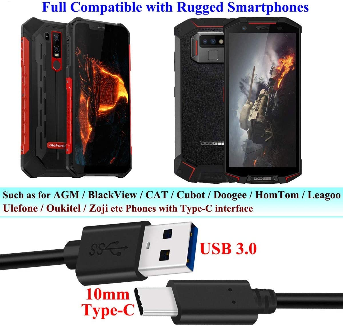 USB Power Adapter Charger Charging Data Sync Cable Cord For Ulefone Power 3S