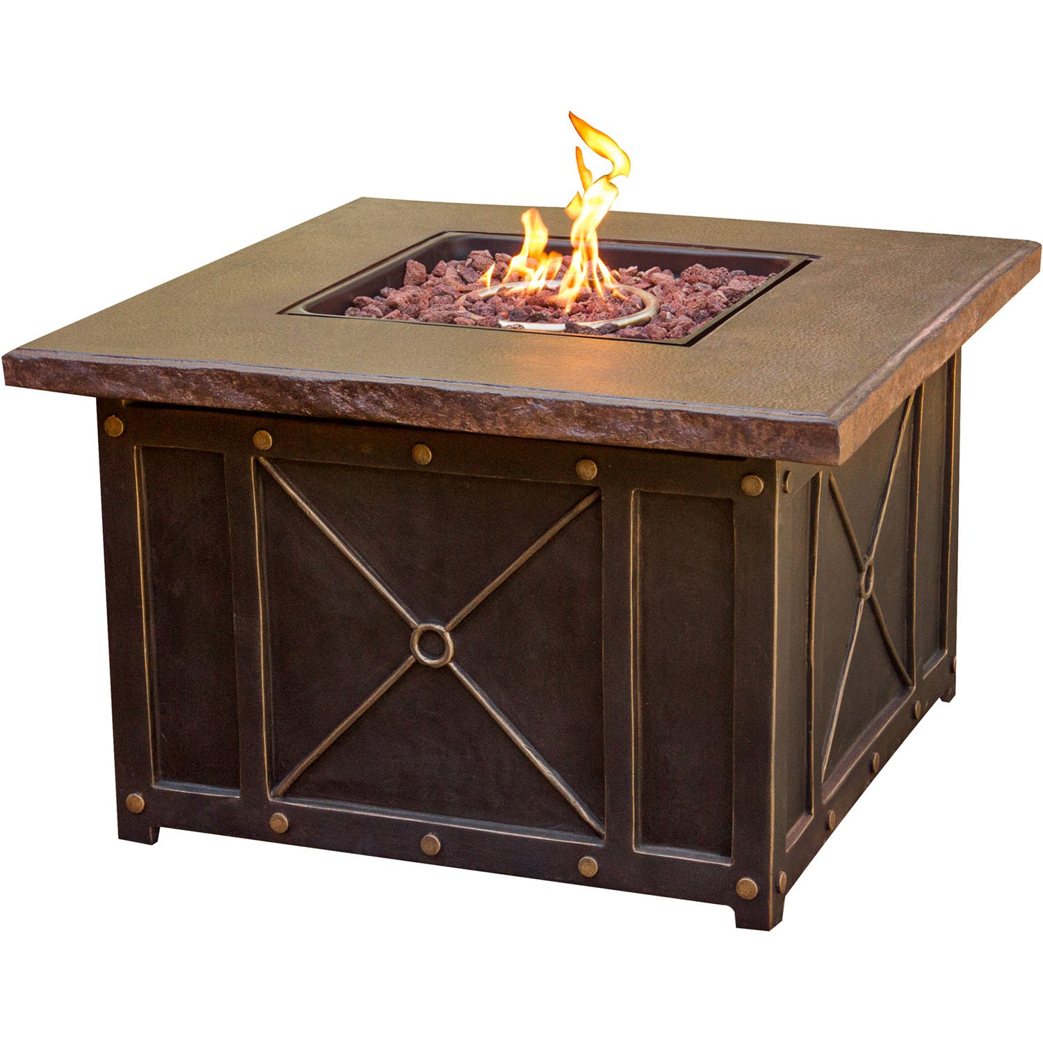 Amazon com cambridge classic1pcfp square gas fire pit with durastone top 40 garden outdoor