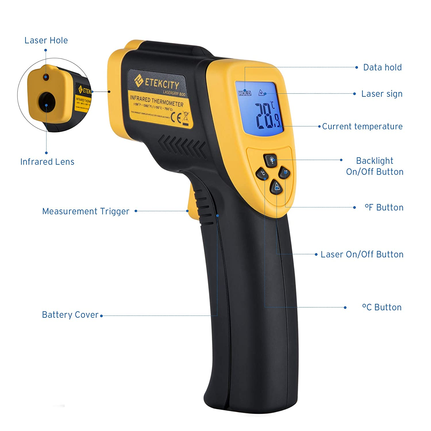 Etekcity Lasergrip 800 Digital Infrared Thermometer Laser Temperature Gun Non-contact -58 – 1382 -50 to 750 , Yellow Black