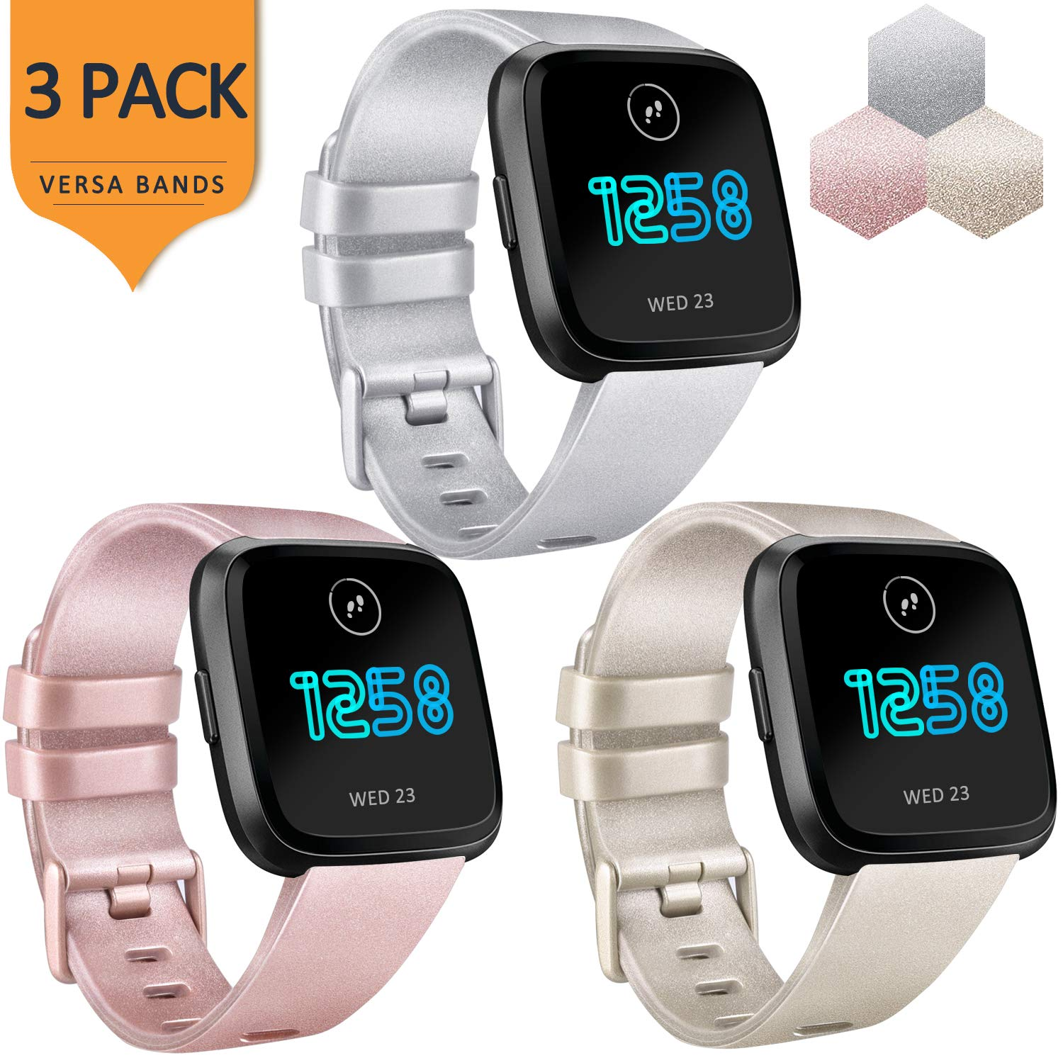 Amazon com : AK Bands Compatible with Fitbit Versa Bands (3