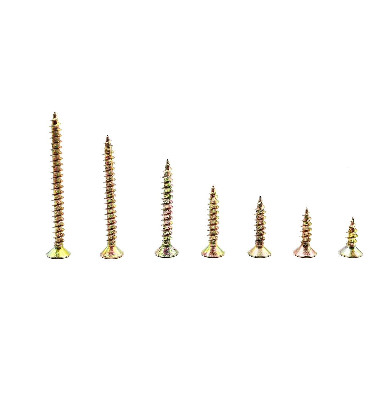 binifiMux 260pcs M5 Zinc Plated Coarse Thread Phillips Drywall Wood Screws Assortment Kit for Sheetrock Drywall Wood