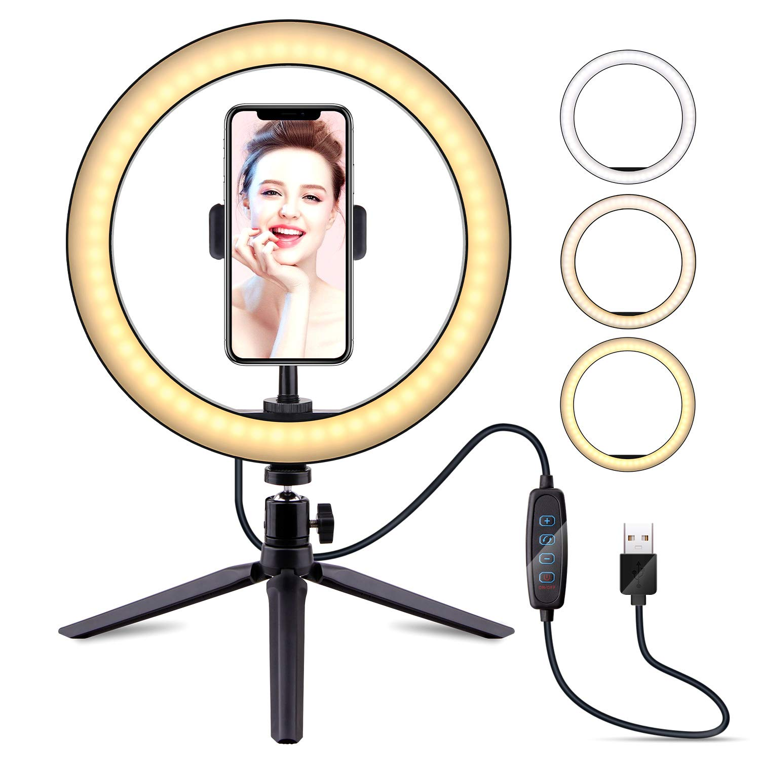 10'' Selfie Ring Light with Tripod Stand & Cell Phone Holder, LATZZ Dimmable Desktop LED Lamp Camera Ringlight for Live Stream/Makeup/YouTube Video/Photography