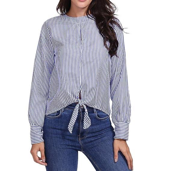 Tops de la Moda de Mujeres Camisa de Estampado a Rayas ahuecada Blusa Casual Botón de