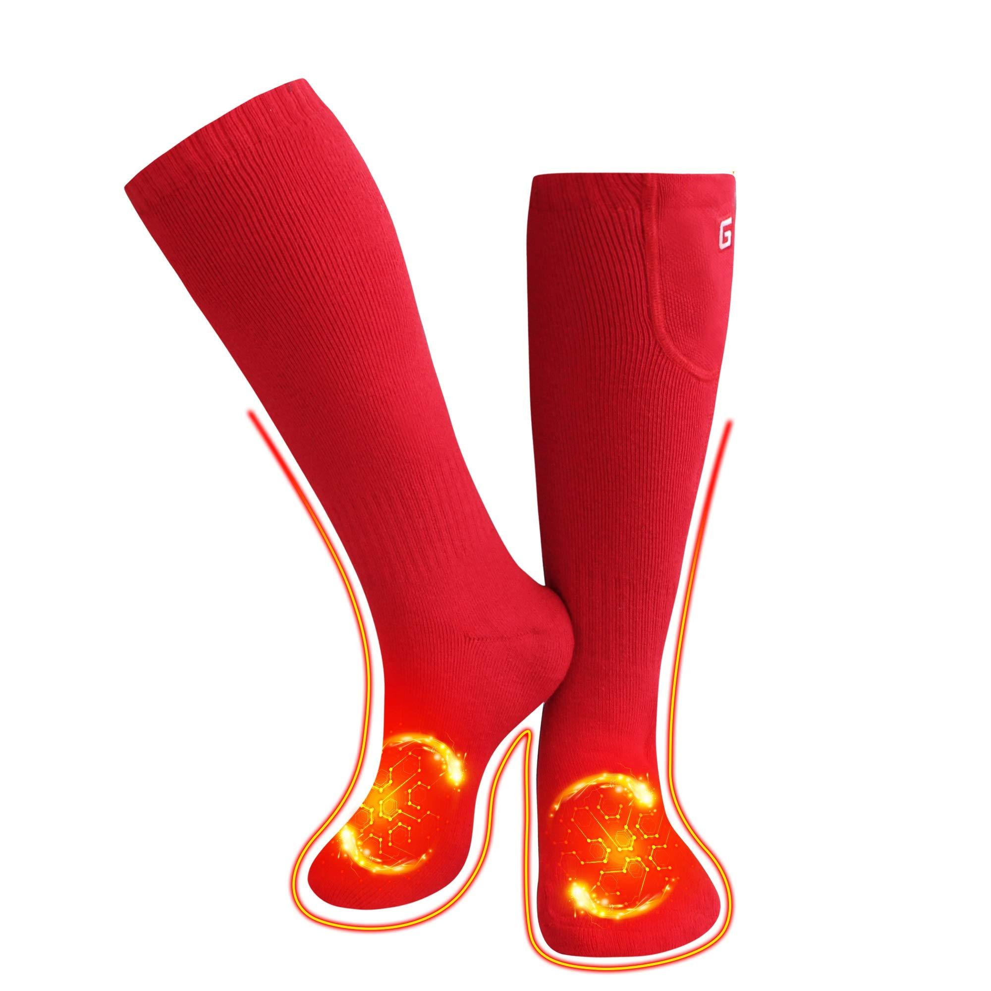 QILOVE Winter Warm Boot Socks Battery Heated Socks Rechargeable Men Women Christmas Red Hot Socks by QILOVE