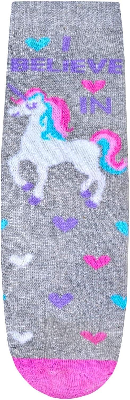 JollyRascals Girls Unicorn Socks 3 Pairs Kids Ankle Socks Pink Grey Aqua Unicorn Star Heart Rainbow Party Sock Novelty Children Character Socks 3 PACK UK Sizes 6-8.5 9-12 12-3.5
