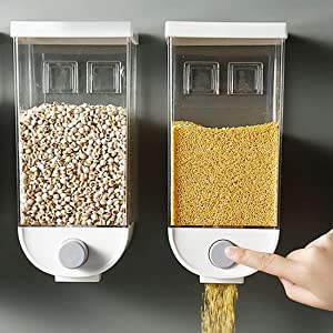 Wall-mounted Cereal Container Dispenser,Food Storage Containers Cereal Canisters Plastic Airtight Containers Oatmeal Dispenser Sealed Can for Dry Food,Nuts,Candy,Beans (1500ML2PC)