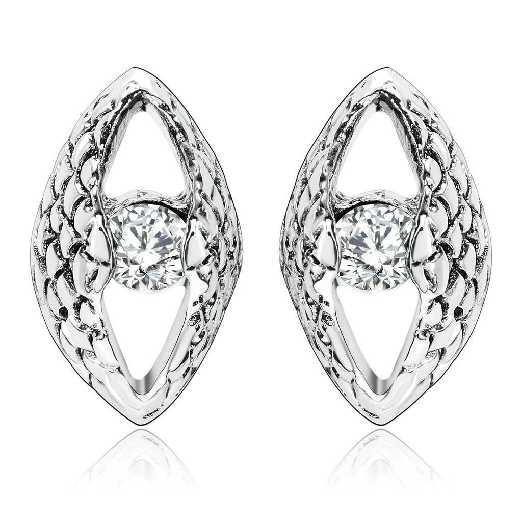 KnBoB Stainless Steel Earrings Women Mini Evil Eye Cubic Zirconia Stud Earrings KBPJSZ4W107RS