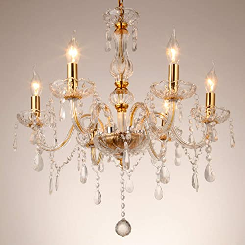 Ridgeyard 6 Lights Clear Crystal Gold Metal Crystal Chandelier Modern 6 Arms Candle Chandeliers Living Room Lighting Ceiling Fixture Pendant Lamp H23.6″ x W23.6″ Gold