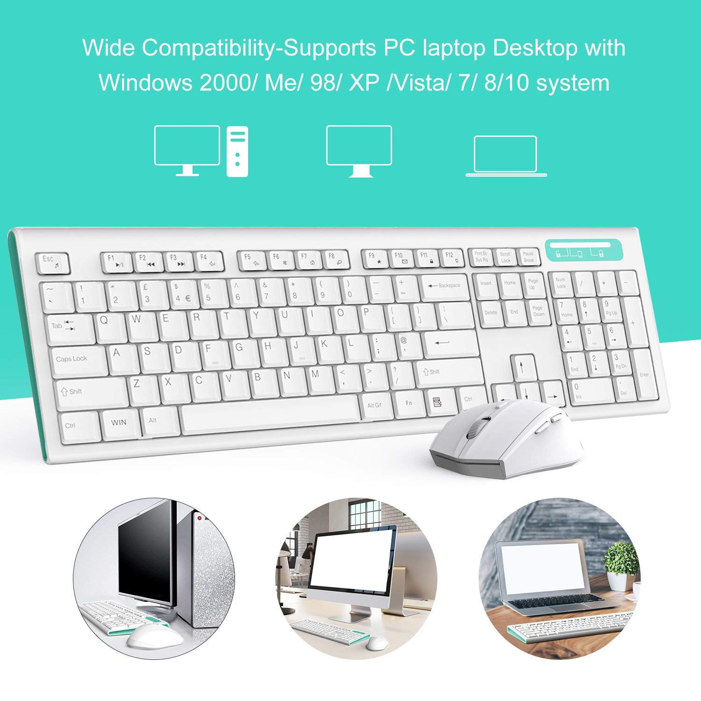 Jelly Comb Azul y Blanco Juego de Teclado y rat/ón inal/ámbricos de tama/ño Completo con Teclado silencioso y disposici/ón QWERTY UK para Windows//iOS//Android