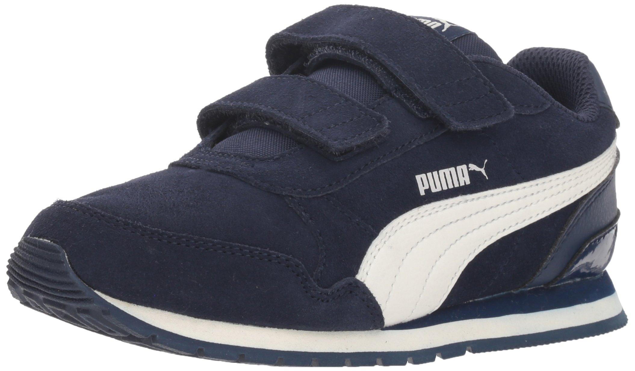 PUMA Baby ST Runner SD Velcro Kids Sneaker, Peacoat-Whisper White, 7 M US Toddler
