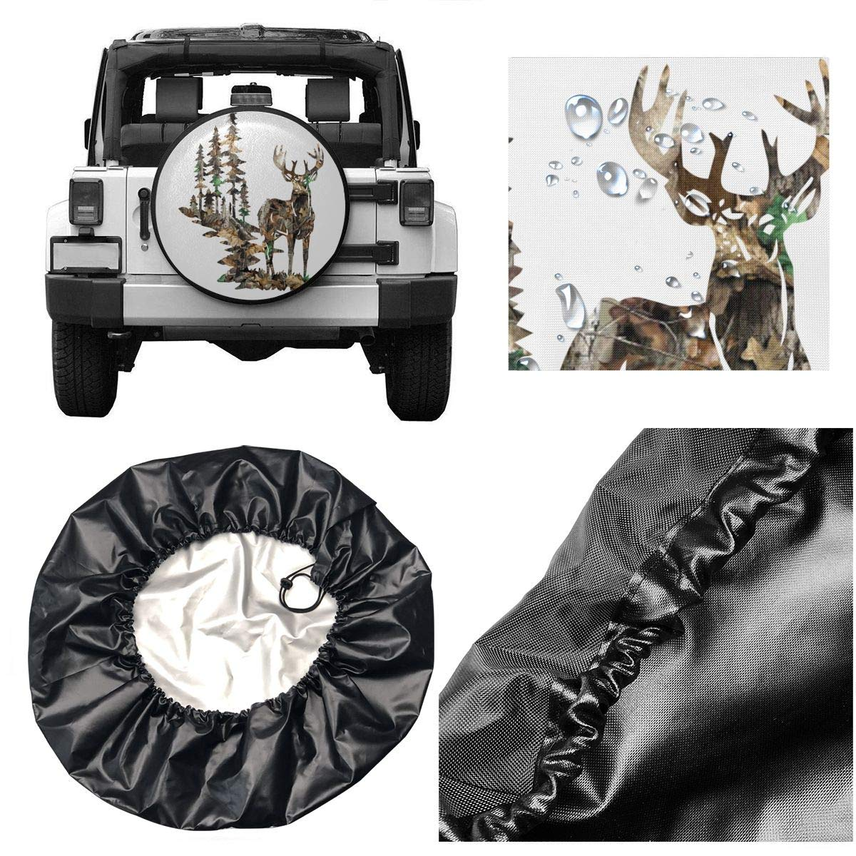 SUV and Various Vehicles 14 15 16 17 Inch Car Tire Cover Rainproof Protective Cover Forest Camoflauge Deer Water Proof Universal Spare Wheel Tire Cover Fit for Trailer RV