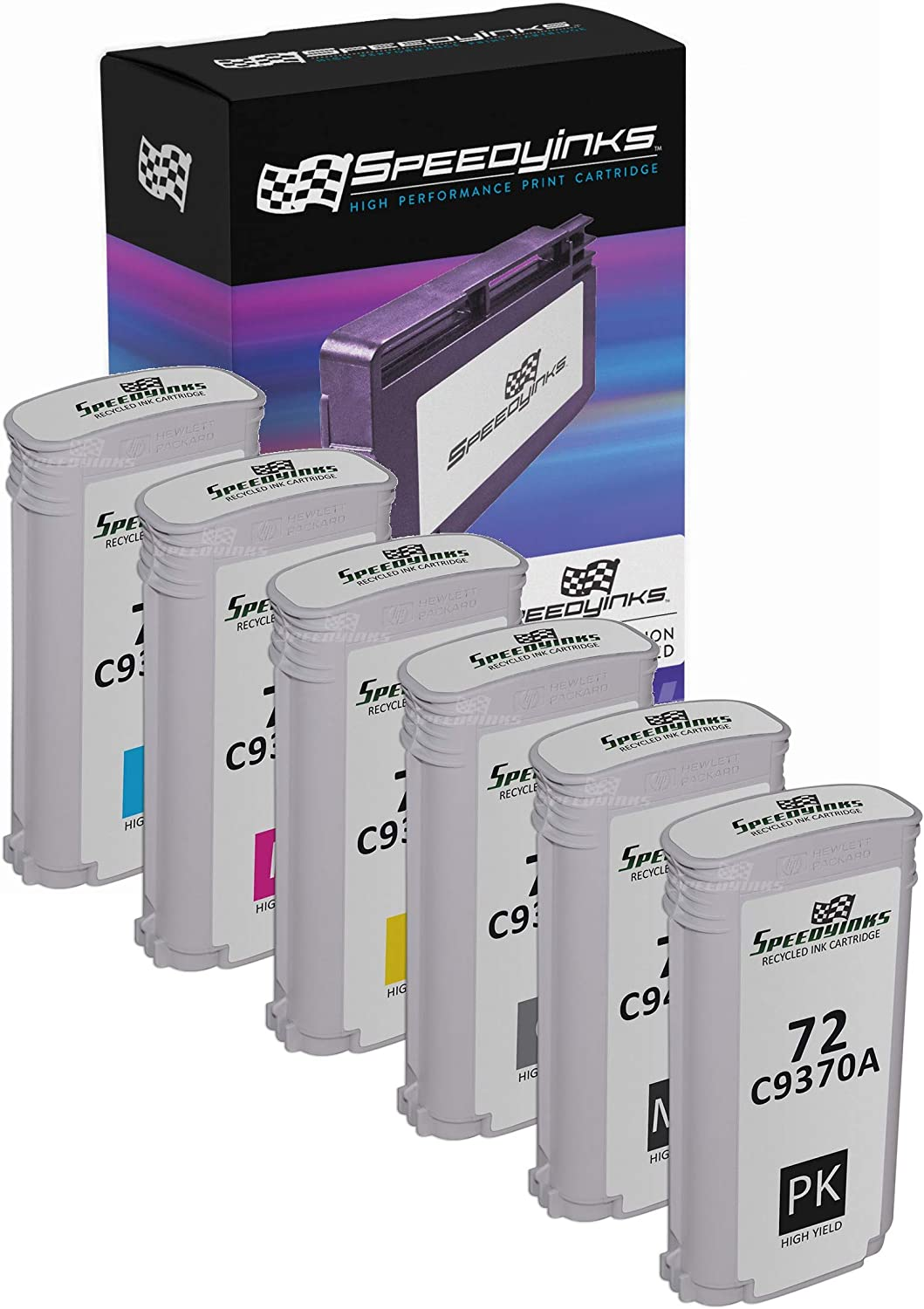 Speedy Inks Remanufactured Ink Cartridge Replacement for HP 72 High-Yield (1 Photo Black, 1 Matte Black, 1 Gray, 1 Cyan, 1 Magenta, 1 Yellow, 6-Pack)
