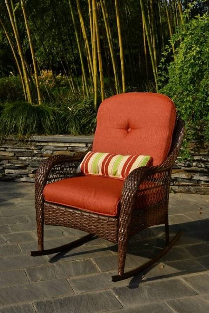 "Better Homes and Gardens Azalea Ridge Porch Deck and Patio Rocking Chair All Weather Outdoor Wicker Rocker Furniture, 37"" h, Seat Depth 19.75"" (Brown)"