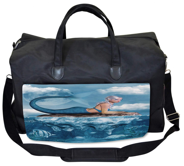 Vintage Mythical Art Large Weekender Carry-on Ambesonne Mermaid Gym Bag