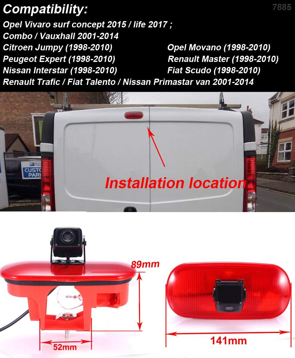 Navinio Auto Dritte Dach Top Mount Bremsleuchte Kamera Bremslicht R/ückfahrkamera f/ür FIAT Talento Nissan NV300 Primastar Renault Traffic 3 opel Vauxhall vivaro+7 LCD TFT Monitor HD