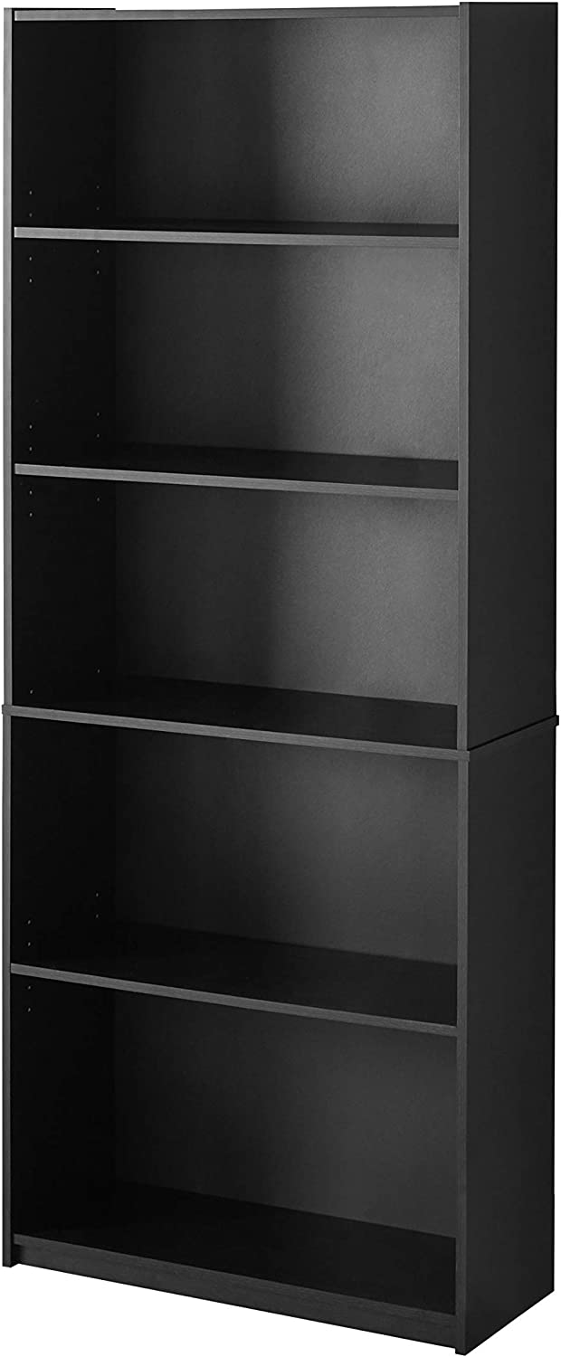 "Mainstay 71"" 5-Shelf Standard Bookcase, (Black) (True Black Oak)"