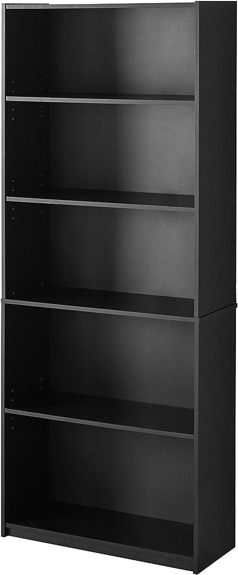 Mainstay 71 5 Shelf Standard Bookcase Black Kitchen Dining