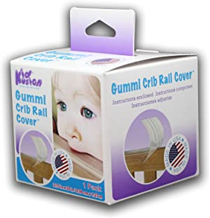 KidKusion Gummi Crib Rail Cover for Baby Teething Made USA, Clear/Translucent, One Size