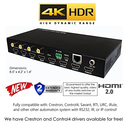 4x4 HDR HDMI 4K Mini Matrix SWITCHER HDCP2 2 HDTV Routing SELECTOR SPDIF  Audio CONTROL4 Savant Home Automation (4x4 HDMI Mini HDR)