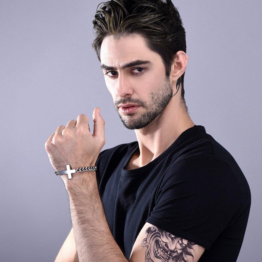 PROSTEEL Bracelet Homme Personalisable Cha/îne Gourmette avec Plaque en Acier//Plaqu/é Or Jaune//M/étal Noir Accessoire Bijou Cool pour Gar/çon 10mm de Large 21cm//8,3 de Long