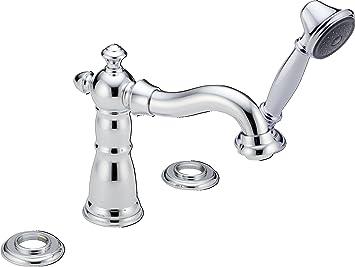 delta t4755lhp victorian roman bathtub faucet with hand shower trim without handles chrome