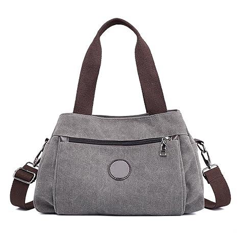 7cb0b945accf8 MORGLOVE Damen Canvas Handtasche Umhängetasche Mittelgroß Tasche ...