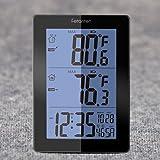 Fetantenclock Wireless Weather Station with Outdoor Sensor, Digital Thermometer with Indoor Outdoor Temperature & Temp. Trend, Alarm, Calendar (Black)