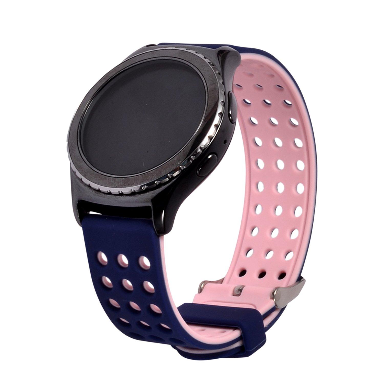 Lwsengmeシリコンクイックリリース – Chooseカラー&幅(18 mm, 20 mm, 22 mm) – ソフトラバー交換用時計ストラップ 18mm-Blue/Pink 18mm-Blue/Pink 18mm-Blue/Pink B075XGKPDZ