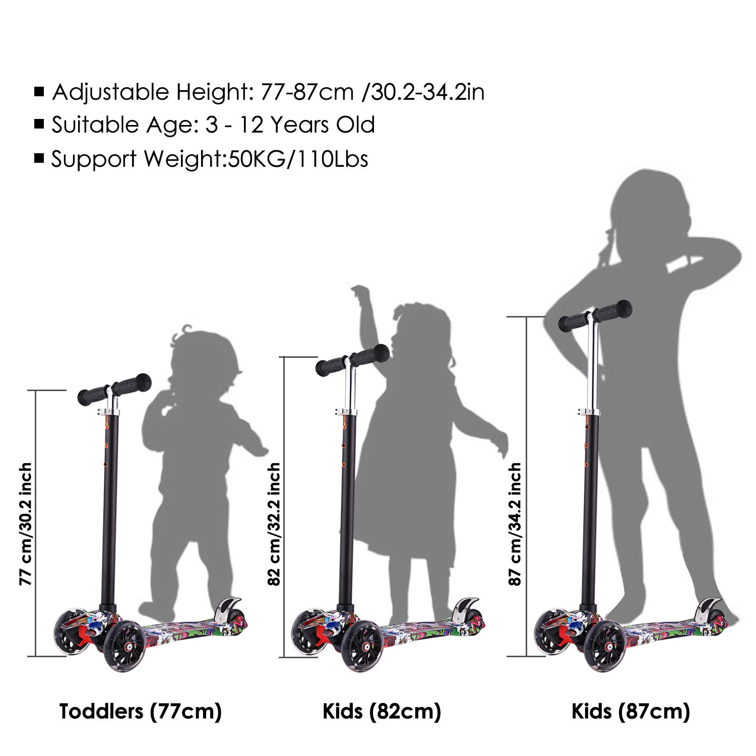 Hikole Kids Scooter - Adjustable, 3 Wheel Mini Adjustable Kick Scooter with LED Light Up Wheels, Gifts for Girls Boys Age 3 to 12, Support 100Lbs by Hikole (Image #3)