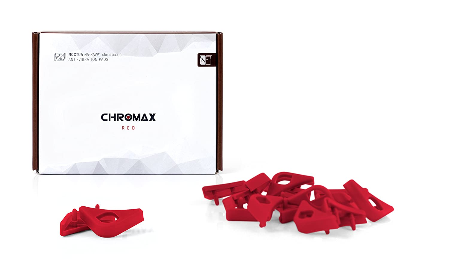 Noctua NA-SAVP1 chromax.red, Anti-Vibration Pads for 120/140mm Noctua Fans (Red, 16-pack)
