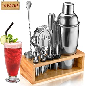Cocktail Shaker Set Bartender Kit, NICEAO 14-Piece Bar Kit with 25oz Martini Shaker, Mixing Spoon, Double Jigger, Liquor Pourers, Muddler, Strainer and Ice Tongs, Professional Bar Mixology Set Tools