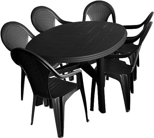 7 piezas. Mobiliario de jardín PLÁSTICO Jardín Mesa ovalada 165 x 110 cm + 6 x silla apilable Antracita Terraza Muebles Juego de muebles de jardín (: Amazon.es: Jardín