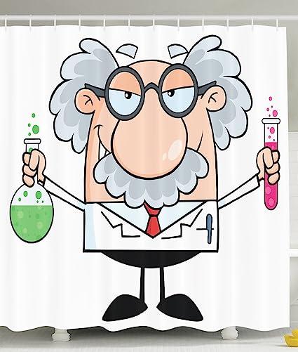 Novelty Fun Shower Curtain PHD Gifts Einstein Cartoon Decorations Funny Science Scientist Chemistry Nobel Physics Modern
