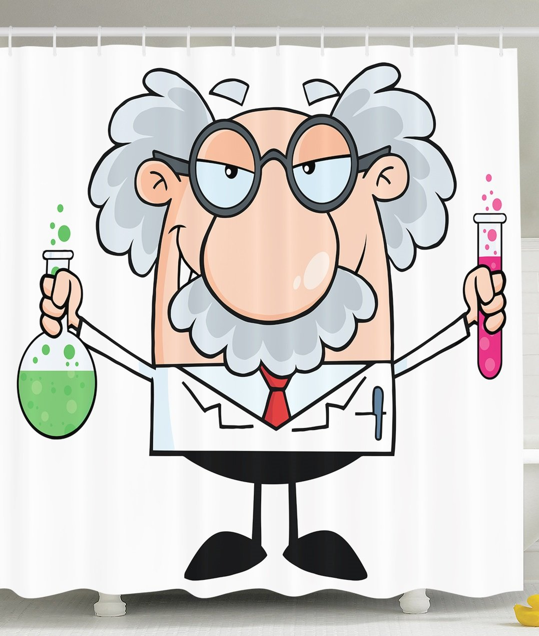 Novelty Fun Shower Curtain PHD Gifts Einstein Cartoon Decorations Funny Science Scientist Chemistry Nobel Physics Modern Bathroom Decor Gifts Professor Teacher Student College Dorm White Pink Green