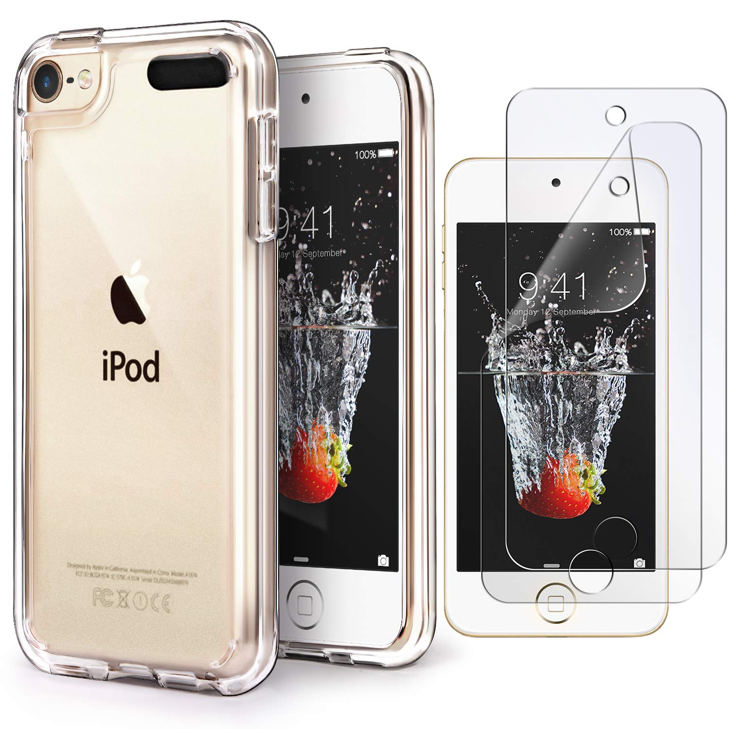 iPod Touch 7 Case Clear,IDWELL Touch 6 Touch 5 Case with 2 Screen Protectors, Clear Slim Soft TPU Bumper Hard Cover for iPod Touch 5/6/7th Generation ...