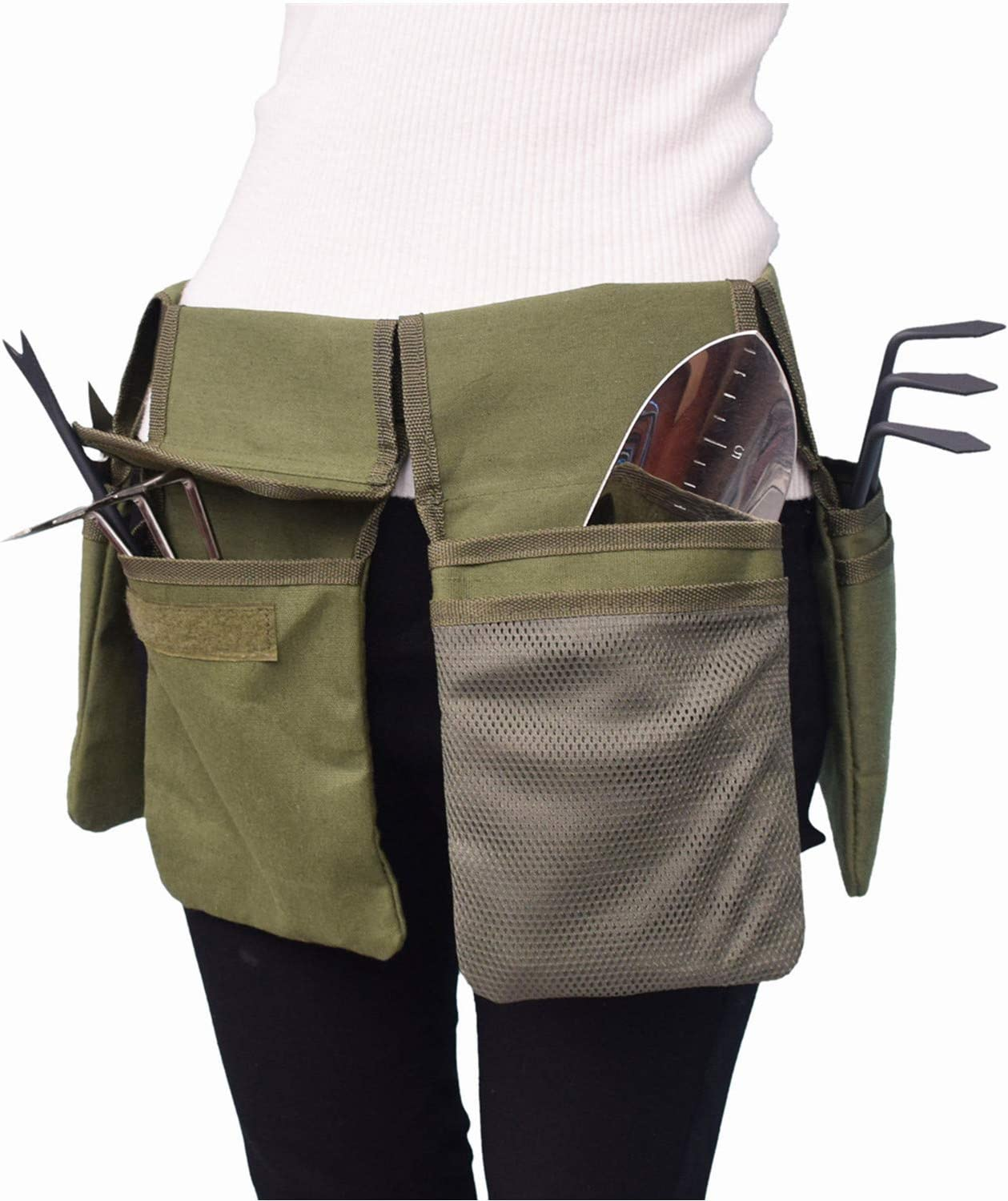 Garden Single Side Tool Apron RV Cleaning Canvas Tool Belt For Women Waist Length to 49 Garden Adjustable Utility Tool Pouch with Belt for Men for Home