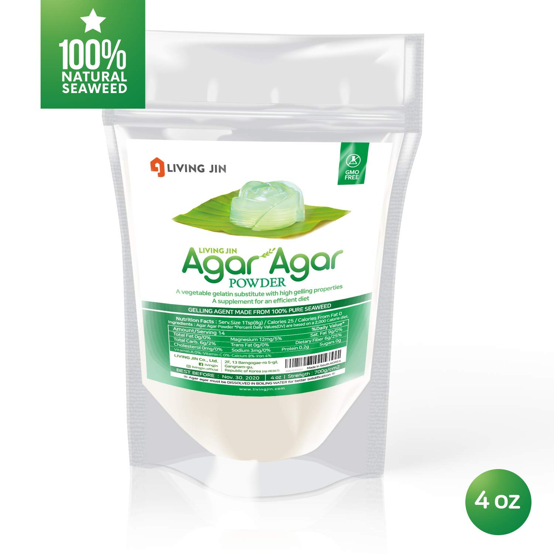 LIVING JIN Agar Agar Powder 4OZ (or 12oz | 28oz) : Vegetable Gelatin Powder Dietary Fiber [100% Natural seaweed + Non GMO + VEGAN + VEGETARIAN + KOSHER + HALAL]