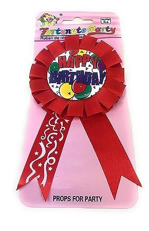 AEX Insignia de Cinta de Feliz Cumpleaños (Roja): Amazon.es ...