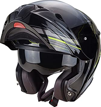 Scorpion Casco Moto EXO-920 Satellite, Black/Neon Yellow, 2 x l