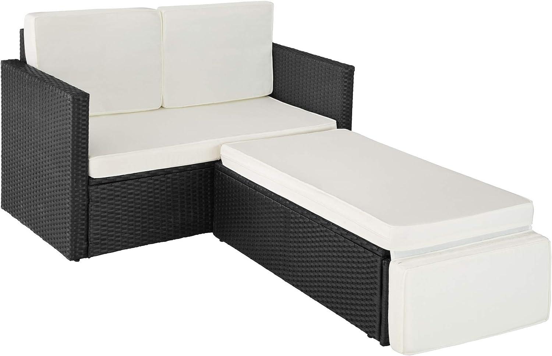 Schwarz | Nr. 403124 2 Sitzer Sofa mit Hocker Diverse Farben Ottomane inkl TecTake 800693 Poly Rattan Lounge Set Dicke Auflagen