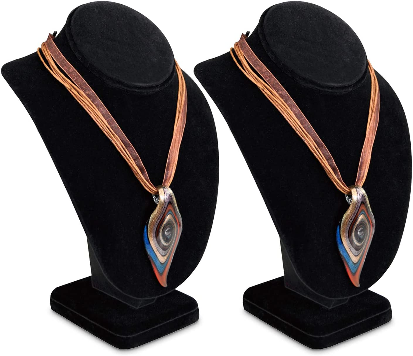 Necklace Chain Jewelry Bust Display Holder Stand Velvet Necklaces Display Necklace Mannequin Black Velvet Mooca Combination Necklace Ring and Earring Bust Display 5 W x 4 1//8 D x 7 1//2 H