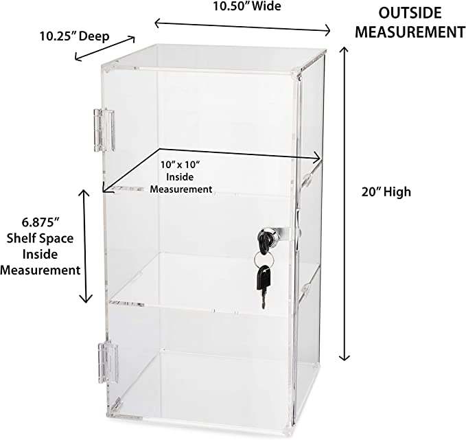 Collectibles Case Clear Choice Professional Counter-top Square Looking Door Acrylic Display Showcase Small; 2 Shelves with//Rotating Base Jewelry Display Pastry Display Retail Showcase