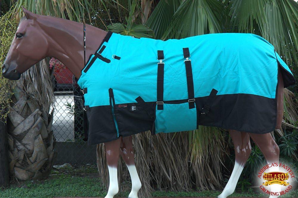 "C-H-72 72/"" Hilason 1200D Poly Turnout Horse Winter Belly Wrap Sheet Black"