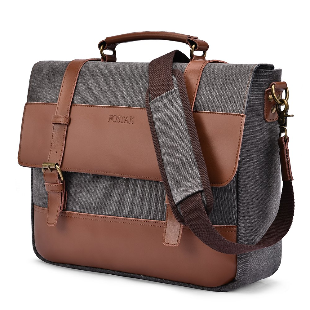 Messenger Bag Fits 15.6 Inch Laptop for Men and Women Vintage Genuine Leather Shoulder Bag Durable Large Canvas Briefcase Multifunctional Satchel Bag with Removable Strap for School Work Travel,Gray
