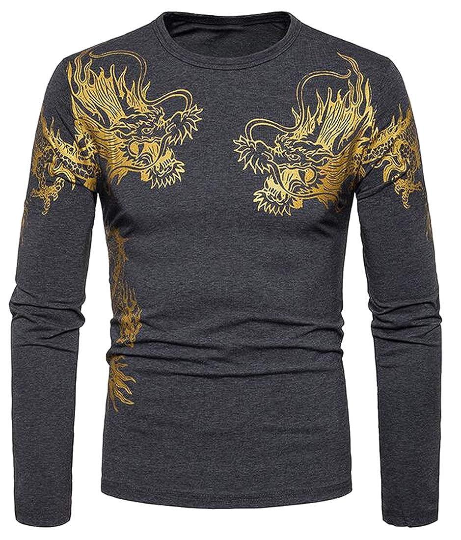 Heless Mens Casual Dragon Printing Long Sleeve Regular Fit Henley Shirts