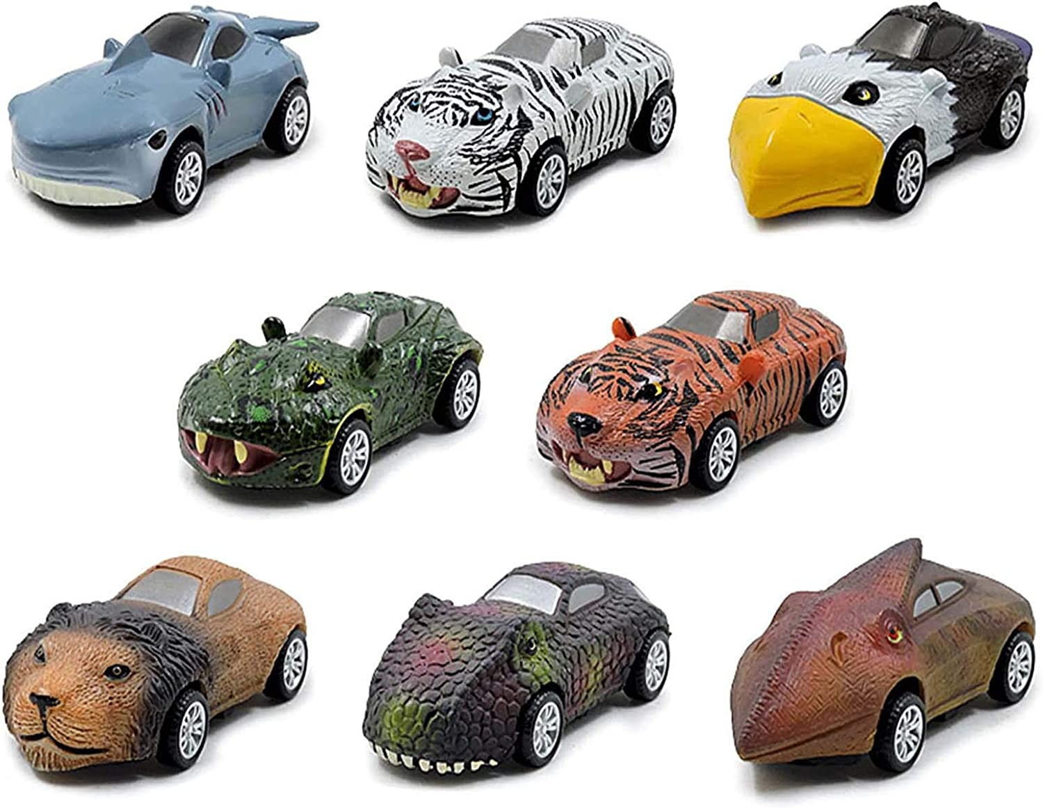 Juyuntong Pull Back Dinosaur Cars, 8 Pack Dinosaur Toy Pull Back Cars, Mini Animal Cars Toys Vehicles Set,Gift for 3-8 Year Old Boy, Pull Back Car Toys Set Toddlers Kids Toys