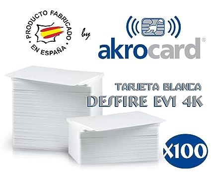 Pack 100 - Tarjeta pvc BLANCA con chip DESFire EV1-4 Kbytes ...