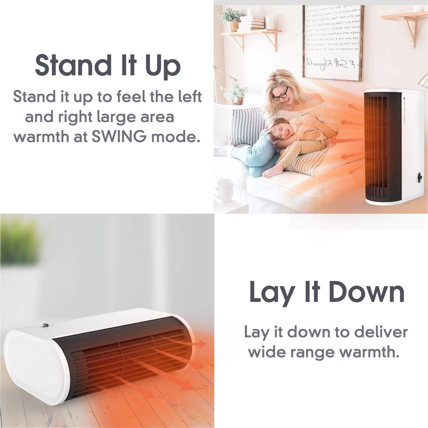 Personal Space Heater, Portable Oscillating Electric Heater, Horizontal-vertical dual use with Over-Heat Protection, Quick Heat-up for Home Office